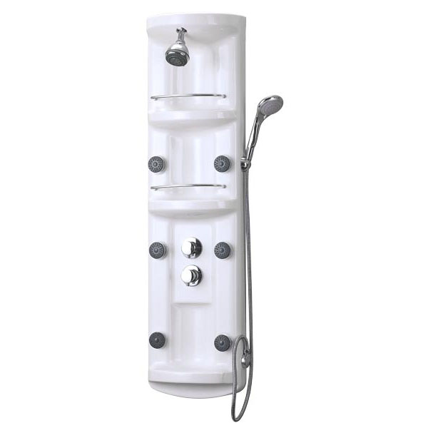 dreamline shower panel massage shower column shcm100700 white acrylic body shower